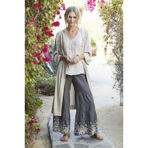 Johnny Was Sienne Embroidered Linen Palazzo Pant